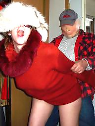 Sweater, Red, Old milf, Old man
