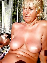 Wives, Mature wives, Sunbathing, Public nudity, Mature public