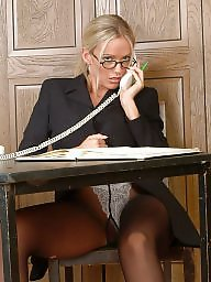 Upskirt, Office, Upskirts, Tease, Stockings tease, Officer