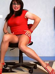 Red, Milf upskirt, Upskirt milf, Milf boobs