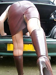 Leather, Mature leather, Uk mature, Stocking mature, Mature uk