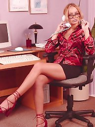 Stocking, Office, Ladies, Undressing, Undress, Officer