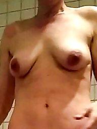 Unaware, Shower, Amateur wife, Nude