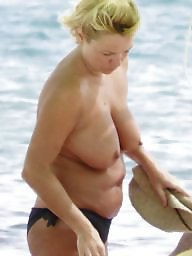 Topless, Caught, Beach milf