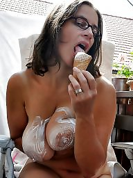 Glasses, Cream, Mature glasses, Mature big boobs, Glasses mature, Mature porn