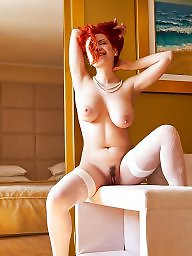 Redhead, Stocking, White panties, Boobs, Big tit, White