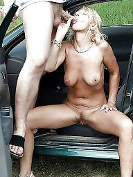 Fuck, Car, Mature fuck, Exhibitionist, Mature fucking, Slut wife