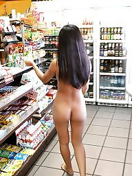 Nude, Shop, Teen nude, Shopping, Cigarette