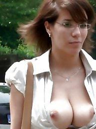 Glasses, Topless, Glass, Boob, Amateur big tits, Big amateur tits