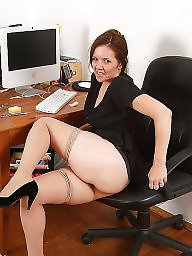 Mature redhead, Office, Mature upskirt, Upskirt mature, Mature office