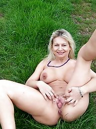 Mature outdoor, Mature panties, Outdoor mature, Red, Blonde mature, Mature blonde
