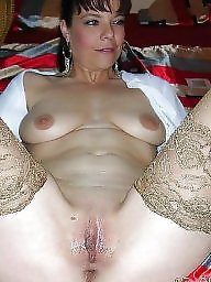 Spreading, Mature spreading, Mature nylon, Mature spread, Tanned, Nylon mature