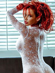 Redhead, Celebrity, White, Lace, Bodysuit, Redheads