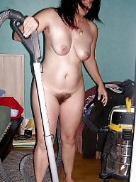 Cleaning, Hairy amateur, Naked, House