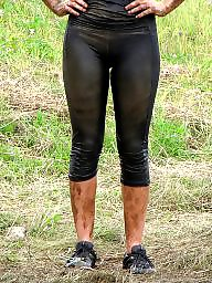 Cameltoe, Wet, Leggings, Wetting