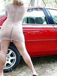 Car, Cars, Upskirts, Mature upskirt, Red, Upskirt mature
