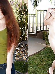 Outdoor, Dressed undressed, Dress undress, Undressed, Hairy amateur, Female