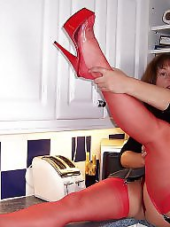 Kitchen, Posing, Mature posing, Mature in stockings, Mature kitchen, Pose