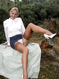 Outdoor, Vintage, Lady, Upskirts, Outdoors, Legs stockings
