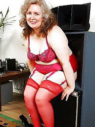 Chubby, Chubby mature, Mature stockings, Mature chubby, Red