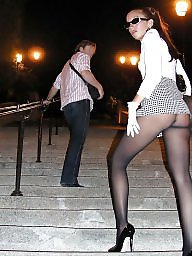 Upskirts, Upskirt stockings, Legs, Lady