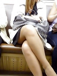 Legs, Leggings, Nylon, Candid, Train, Crossed legs