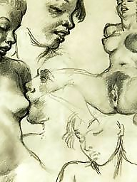 Drawing, Drawings, Draw, Vintage, Erotic