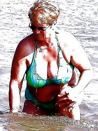 Granny, Big granny, Beach, Granny beach, Granny boobs, Busty granny