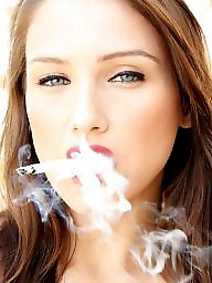 Smoking, Redhead, Smoke, Blond, Lipstick