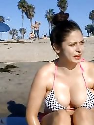Cleavage, Candid, Hidden, Busty beach