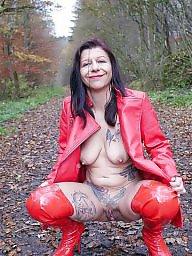 Red, Public nudity, Public slut