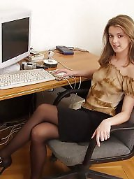 Young, Office, Upskirt stockings