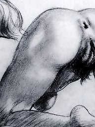 Vintage, Drawings, Drawing, Erotic
