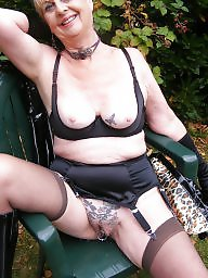 Granny, Mature bdsm, Pvc, Outdoor, Mature outdoor, Granny stockings