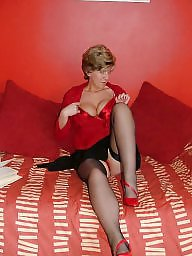Stockings, Lady, Stockings mature, Uk mature, Amateur mature, Red