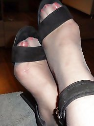 Heels, High heels, Grey, Stockings heels, Stocking milf, High
