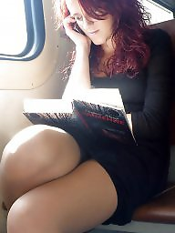 Legs, Candid, Nylons, Train, Crossed legs, Leg