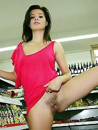Shopping, Dress, Skirt, Hairy pussy, Dressed, Upskirt hairy