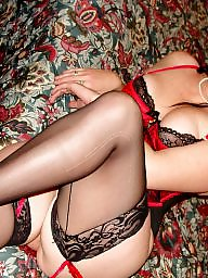 Curvy, Brunette, Milf stockings, Stocking milf