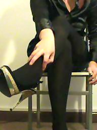 Satin, Heels, Tights, Tight, Blouse, Satin blouse
