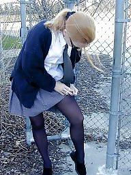 Stockings, Upskirt stockings, Redhead