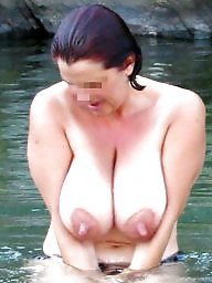 Mature beach, Mature boobs, River