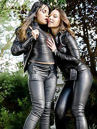 Leather, Fucking, Threesome, Catsuit