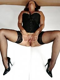 Spreading, Mature stockings, Mature spreading, Corset, Heels, Mature pussy