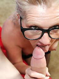 Glasses, Older, Suck, Glass, Cock sucking, Milf blowjob