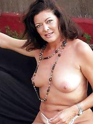 Strip, Mature brunette, Garden, Brunette mature