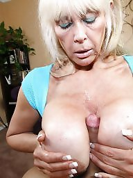 Pov, Blow, Huge, Silicone, Granny blowjob