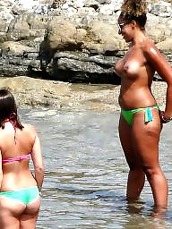Topless, Girls, Groups, Public voyeur, Public nudity, Voyeur beach