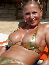 Bikini, Dress, Downblouse, Mature bikini, Underwear, Mature dressed