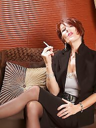 Smoking, Mature redhead, Smoke